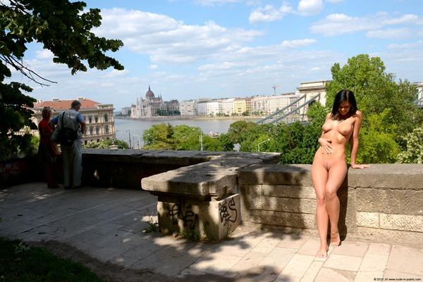 nude in public slutty babe
